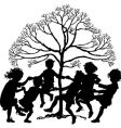 silhouette of children playing vector image