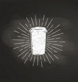 chalk paper coffee cup silhouette on black board vector image