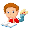 Cute boy cartoon reading book vector image
