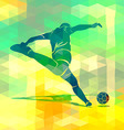 Silhouette kicking footballer vector image