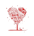 Valentine tree heart shape for your design vector image