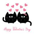 valentines day round shape black cat icon love vector image
