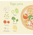 Veggie pizza ingredients vector image