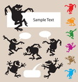 Frog Dancing Silhouettes 1 vector image