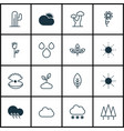 set of 16 nature icons includes plant sunshine vector image