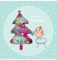 merry christmas and bird vector image vector image