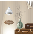 vintage interior with suitcases and lamp vector image