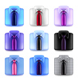 Shirt with tie icons set vector image vector image