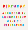 birthday candles colorful font design cutout abc vector image