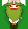 cheerful leprechaun with green beard good gnome vector image