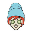 color image cartoon face woman with towel in head vector image