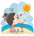 cute cartoon girl on the beach vector image