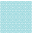 greek key pattern background blue green vector image