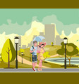 happy couple walking in park vector image