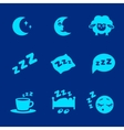 isolated white sleep concept icons set vector image