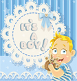 Its a boy blue openwork card for your announcement vector image