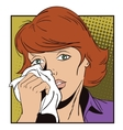 People in retro style Crying girl vector image