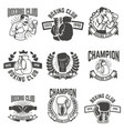 set of boxing club labels design elements for vector image