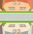 Top view of the houses on the street and the road vector image