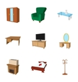 Type of furniture icons set cartoon style vector image