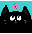 Black cat head looking at butterfly insect Cute vector image