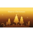 Spruce tree and gift landscape on gold backgrounds vector image