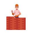 construction worker builder in hardhat building vector image