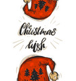 hand drawn abstract christmas greeting card vector image