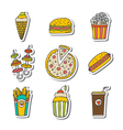 Hand drawn fast food icons sticker set Food vector image