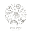 Set of Boho Chic Style Elements vector image