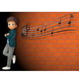 A boy standing near the wall with musical notes vector image