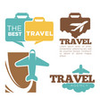 best travel agency promotional poster with plane vector image