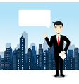 Businessman on city landscape background vector image