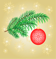 Christmas decoration branch with red balls vector image