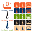 design business lunch and icon set flat design vector image