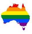 lgbt flag map of australia vector image