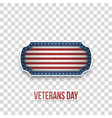 veterans day greeting badge with text vector image