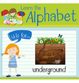 Flashcard letter U is for underground vector image