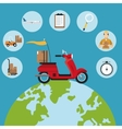 delivery concept red motorcycle globe set icons vector image