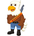 cute eagle cartoon posing with rifle vector image