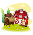 A wagon and a girl in front of the barnhouse vector image vector image