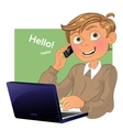Boy with phone and laptop vector image vector image
