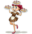 Lady selling cakes vector image