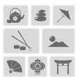 monochrome icons with japanese symbols vector image
