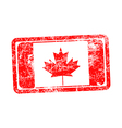 canada flag red grunge rubber stamp vector image