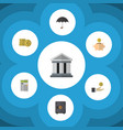 flat icon finance set of money box bank parasol vector image