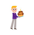 flat man holding big birthday cake vector image