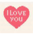 knitted heart on white background vector image