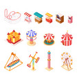 amusement park isometric cartoon icons set vector image