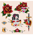 tattoo set love vector image